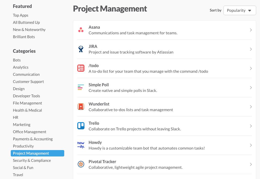 Liste des apps sur Slack