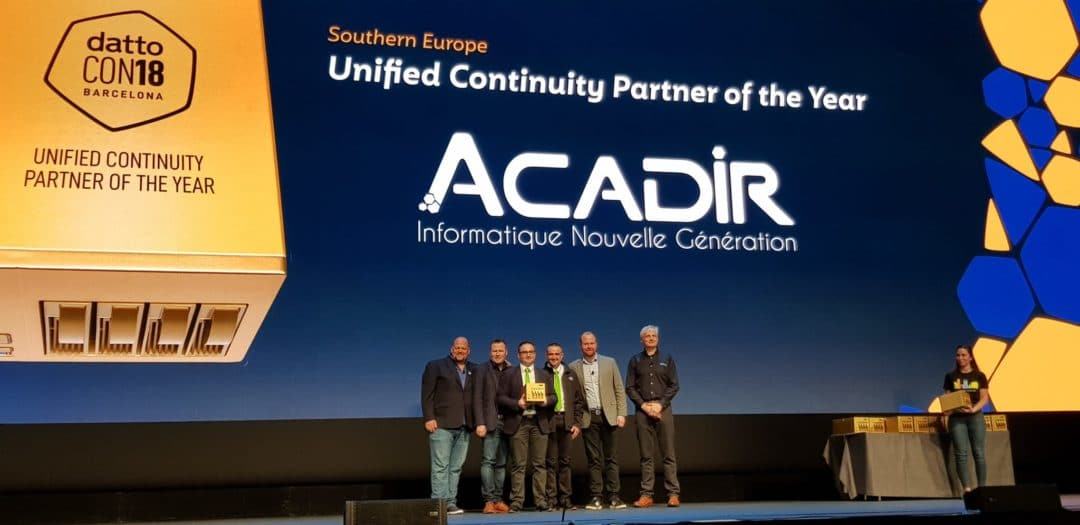 [Award] Acadir IT récompensé à la DattoCon18 à Barcelone